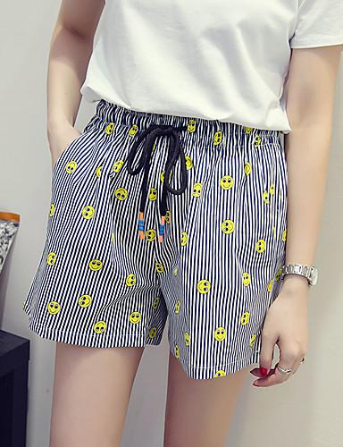 Kvinders Simpel Shorts Bukser Mikroelastisk Hør