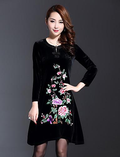 Feminino Solto Vestido, Para Noite Tamanhos Grandes Temática Asiática Sólido Bordado Decote Redondo Altura dos Joelhos AssimétricoManga