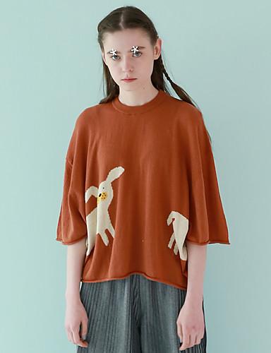 Dame Vintage I-byen-tøj Normal Pullover Patchwork,Brun Rund hals 1/2 ærmelængde Bomuld / Polyester Efterår Medium