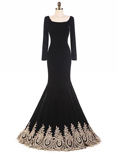 Trompete / Meerjungfrau Quadratischer Ausschnitt Pinsel Schleppe Samt Vintage Inspirationen Formeller Abend Kleid mit Rüschen durch LAN TING Express