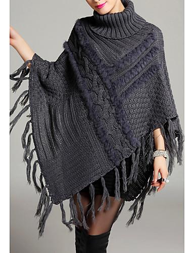 Dames Casual/Dagelijks Eenvoudig Lang Cloak / Capes Effen-Coltrui Mouwloos Polyester Herfst Medium Micro-elastisch