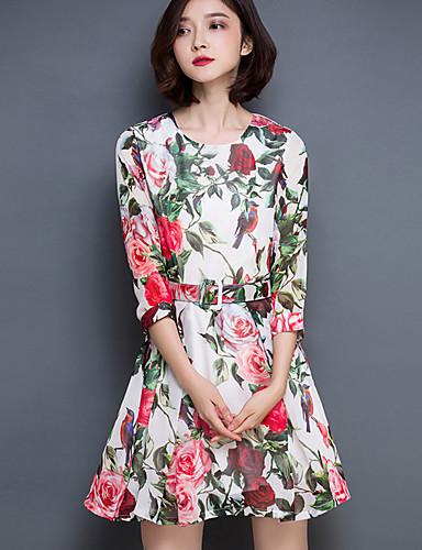 Kvinders Street I-byen-tøj A-linje Kjole Blomstret,Rund hals Over knæet 3/4 ærmelængde Rød Polyester Sommer