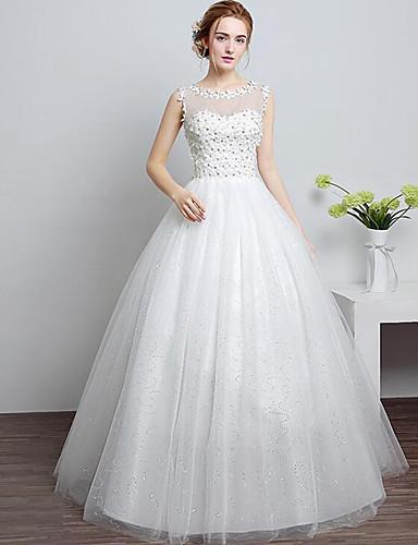 A-Linie Boden-Länge Spitze Tüll Hochzeitskleid mit Perlenstickerei Spitze durch
