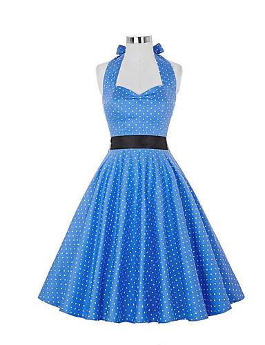 Dame Vintage A-linje Kjole - Polkadotter, Flettet Knelang