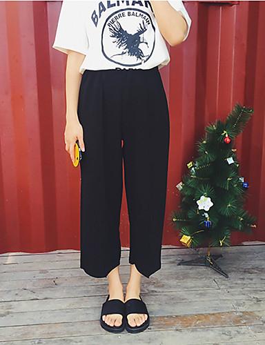 Dame Afslappet Bredt Bukseben Jeans Bukser Ensfarvet