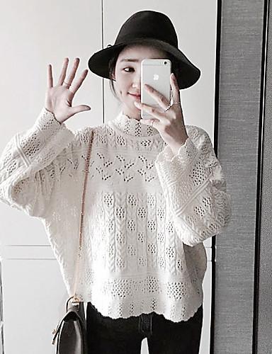 Dame Vintage I-byen-tøj Normal Pullover Ensfarvet,Hvid Rund hals Langærmet Bomuld / Polyester Forår / Efterår Medium