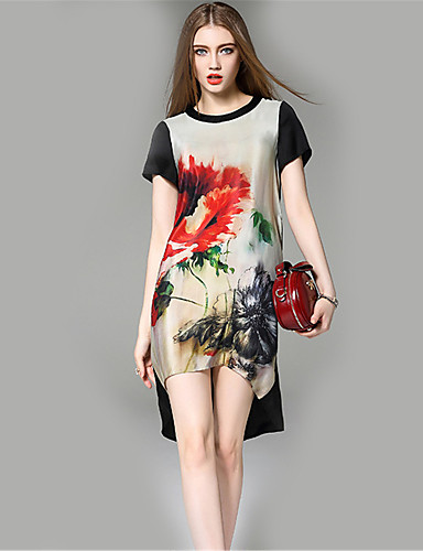 engel kvinders casual / daglig street chic løs print rund hals asymmetrisk kort ærme sommer silke