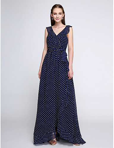 Sheath / Column V-neck Floor Length Chiffon Bridesmaid Dress with Pattern / Print by LAN TING BRIDE®