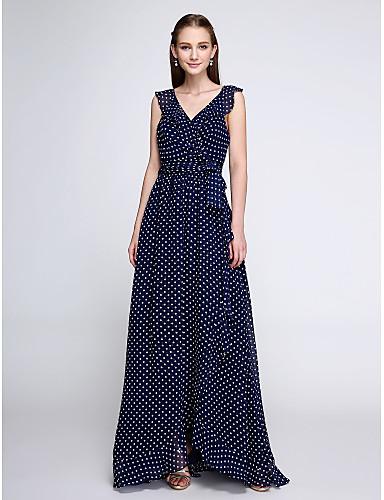 Sütun V-Yaka Yere Kadar Şifon Nedime Elbisesi ile Tema / Baskı tarafından LAN TING BRIDE®