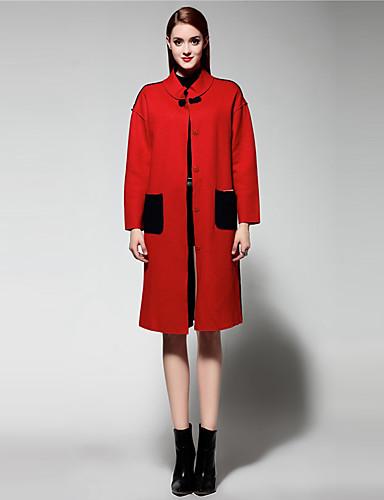 mary yan& yu kvinders gå ud sofistikeret pels, solid stå langærmet vinter rød uld tyk