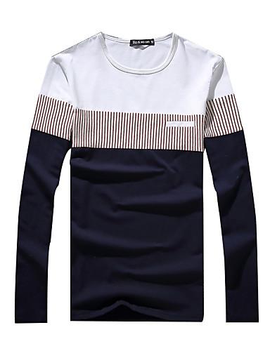 Fritid / Arbejde / Sport / Plusstørrelse Farveblok Mænds Langærmet T-shirt Bomuld-Blå / Rød / Hvid