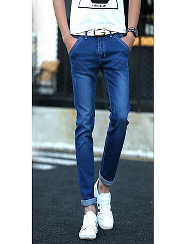Masculino Jeans Calças Cor Única