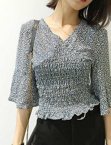3/4 ærmelængde V-hals Medium Kvinders Blå Blomstret Sommer Simpel Casual/hverdag Bluse,Polyester