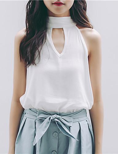Uden ærmer Rund hals Medium Kvinders Hvid Ensfarvet Sommer Simpel Casual/hverdag Bluse,Polyester