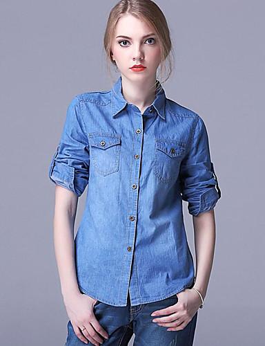 Bomull Blå Medium Langermet,Skjortekrage Skjorte Ensfarget Vår / Høst Gatemote Fritid/hverdag Kvinner