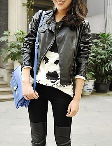 Mulheres Curto Jaquetas de Couro Diário Moda de Rua Outono, Sólido Poliuretano Colarinho de Camisa