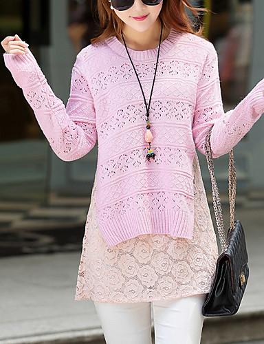 Dame Afslappet Pullover - Ensfarvet