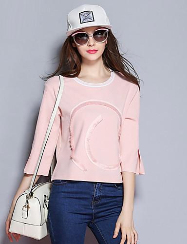 sybel kvinders gå ud / efteråret t-shirt, udskrive rund hals ¾ ærme blå / pink polyester / spandex medium