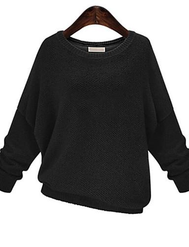 Dames Grote maten Casual/Dagelijks Eenvoudig Normaal Pullover Effen-Ronde hals Polyester Herfst Medium Micro-elastisch