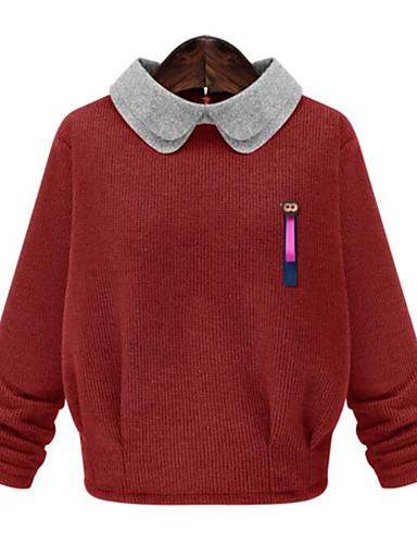 Damer Simpel Plusstørrelser Normal Pullover Farveblok,Peak Lapel Langærmet Andet Efterår Medium Mikroelastisk