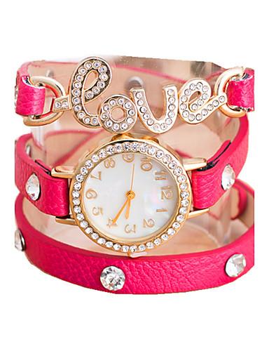 Mulheres Relógio de Moda Bracele Relógio Relógio Casual Quartzo Couro Banda Pérolas Branco Vermelho Marrom Verde