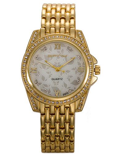 Dames Modieus horloge Gesimuleerd Diamant Horloge Kwarts / Roestvrij staal Band Glitter Bedeltjes Cool Zilver Goud