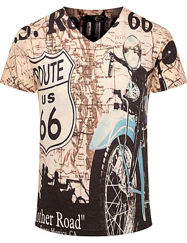 Menn Fritid / Sport / Plusstørrelse Trykk T-skjorte,Bomull Kortermet-Gul