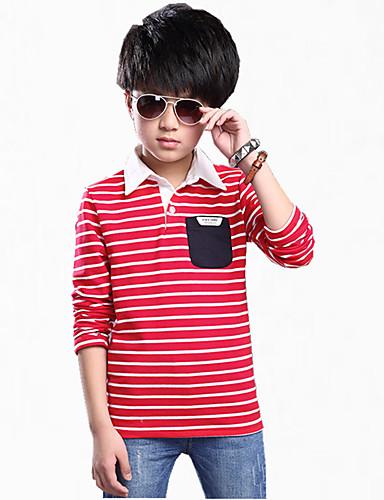 Jungen T-Shirt Alltag Verziert Baumwolle Frühling Herbst Ganzjährig Langarm Streifen Marinenblau Rot Grün