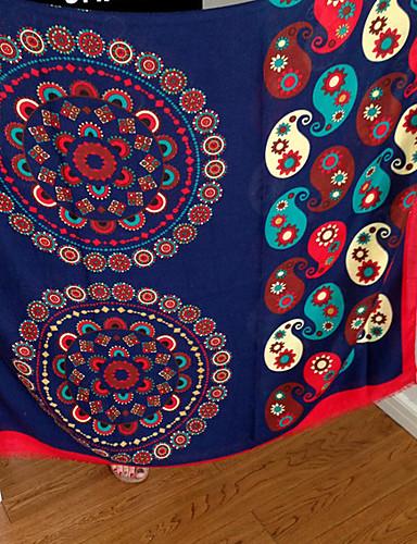 Damer Vintage Rektangulær,Bomuld Alle årstider Trykt mønster Mørkeblå