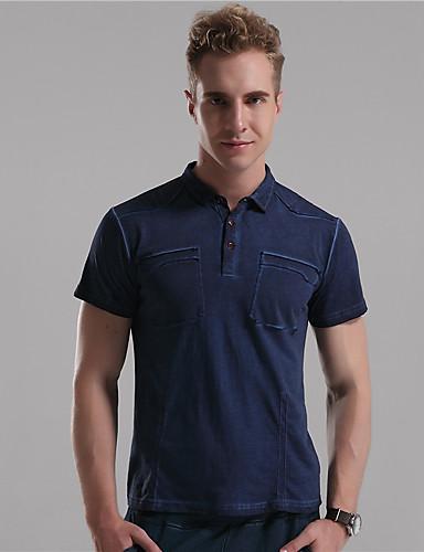 Mr D® Herre Skjortekrage Kort Erme T skjorte Beige / Marineblå / Cyan-6779