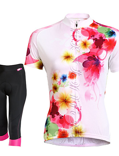 cheap Cycling Clothing-TASDAN Women's Short Sleeve Cycling Jersey with Shorts - Black Floral Botanical Plus Size Bike Shorts Jersey Clothing Suit Breathable 3D Pad Quick Dry Reflective Strips Back Pocket Sports Floral