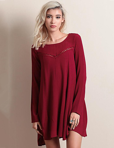 Mulheres Diário Moda de Rua Solto Acima do Joelho Vestido Sólido Decote Redondo Manga Longa