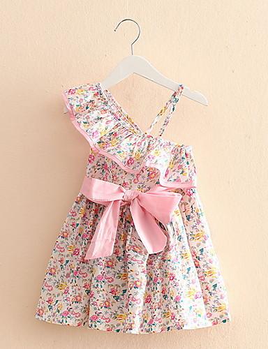 Menina de Vestido,Casual Floral Algodão Verão / Outono Rosa