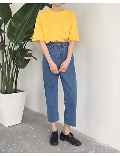 Dame Afslappet Jeans Bukser Ensfarvet