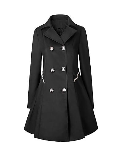 Vrouwen Vintage / Eenvoudig Lente / Herfst Trenchcoat,Casual/Dagelijks / Werk / Grote maten Puntige revers-Lange mouwBlauw / Beige /