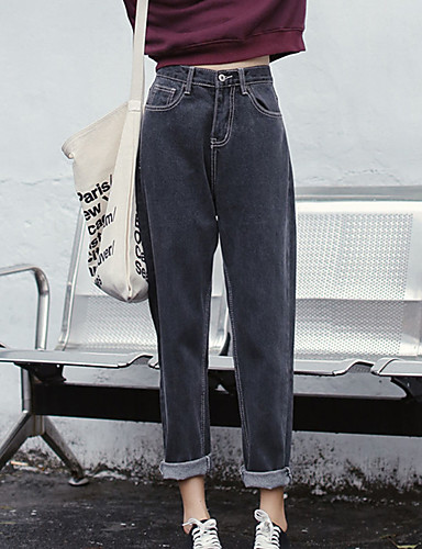 Mujer Simple Algodón Vaqueros Pantalones - Un Color