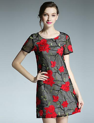 klimeda kvinners casual / daglig vintage skifte kjole, brodert rundt halsen ovenfor kneet kort erme polyester sommer