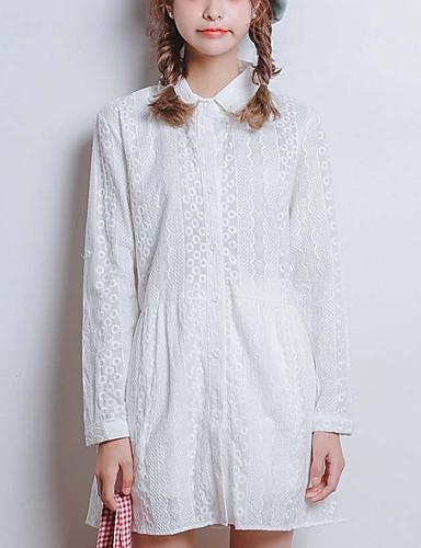 Kvinders Sødt I-byen-tøj A-linje Kjole Ensfarvet,Krave Over knæet Langærmet Hvid Polyester Sommer