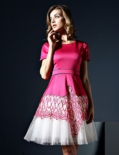 klimeda naisten vapaa-ajan / päivittäin söpö linja mekko, tilkkutäkki pyöreä kaula edellä polven lyhythihainen polyesteri kesällä