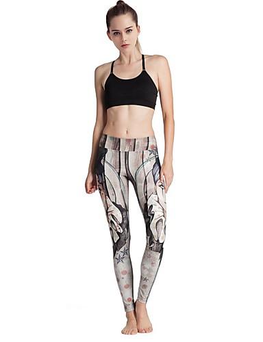 MIDUO Dame Joggebukser Komprimering Leggings Bunner til Yoga & Danse Sko Trening & Fitness Elastan Tett Grå