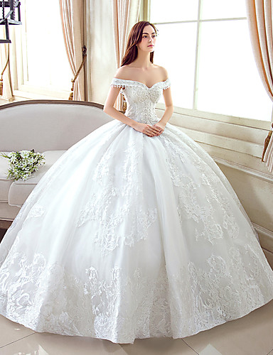 Ball Gown Off Shoulder Floor Length Lace / Tulle Made-To-Measure Wedding Dresses with Pattern by LAN TING Express