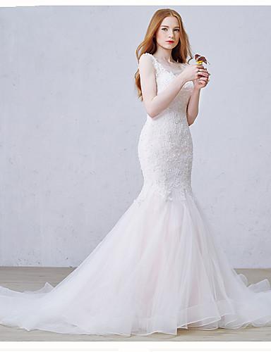 Havfrue Scoop Neck Kapellslep Lace Over Tulle Egendefinerte brudekjoler med Perlearbeid Perle Appliqué av DRRS