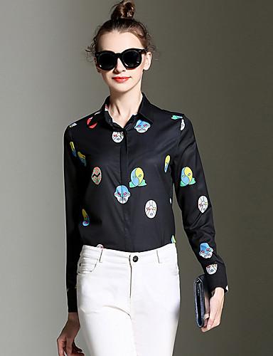 Polyester Sort Medium Langermet,Skjortekrage Skjorte Trykt mønster Alle sesonger Vintage Ut på byen Kvinner