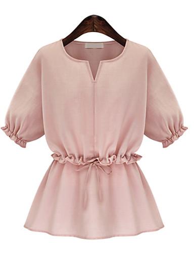 Nais- ½ hiha Ohut V kaula-aukko Puuvilla / Pellava Kesä Yksinkertainen Bile T-paita,Yhtenäinen Sininen / Pinkki