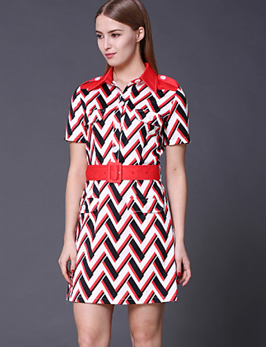 Dames Uitgaan Vintage Schede Jurk Geometrisch-Overhemdkraag Mini / Boven de knie Korte mouw Rood Katoen / Polyester Lente Medium taille