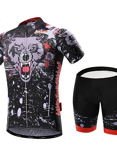 cheap Cycling Clothing-Malciklo Men's Short Sleeve Cycling Jersey with Shorts Bike Clothing Suit Breathable 3D Pad Quick Dry Back Pocket Sports Coolmax® Lycra Bear Mountain Bike MTB Road Bike Cycling Clothing Apparel