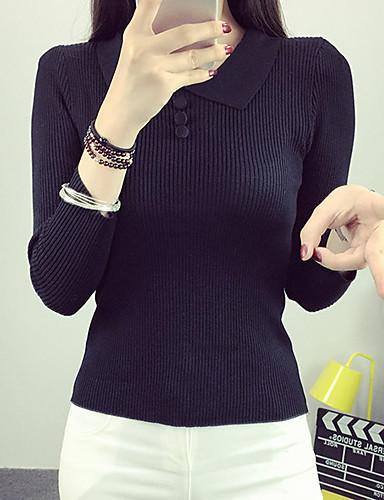 Dame Simpel Casual/hverdag Normal Pullover Ensfarvet / Patchwork,Rød / Hvid / Sort / Grå / Orange Krave Langærmet Rayon Efterår Medium