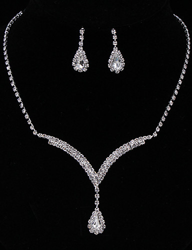 3c8a36a87 Women's Crystal Pear Cut Solitaire Halo Jewelry Set Sterling Silver,  Rhinestone Drop Ladies, Fashion, Elegant, Bridal Include Drop Earrings Pendant  Necklace ...