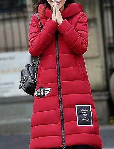 Langærmet Lang Dunjakke Dame Frakke,Simpel Plusstørrelser Ensfarvet-Polyester Polypropylen Hætte Rød Sort Grå Grøn