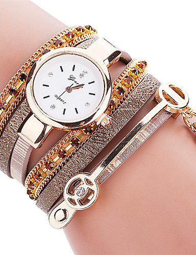 Mulheres Quartzo Bracele Relógio / Venda imperdível PU Banda Casual Fashion Legal Preta Branco Azul Vermelho Marrom Rosa